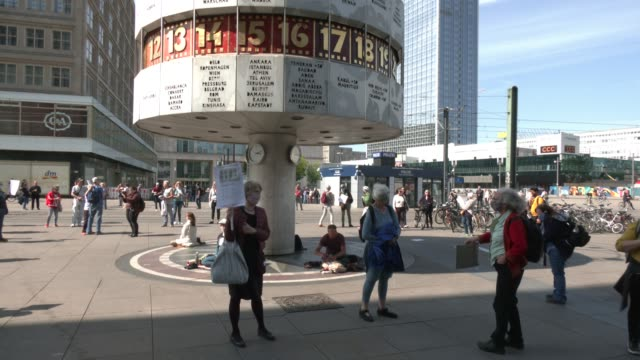 rechts a civil society nonpartisan initiative which is committed to a democratic free society and fights against fascist tendencies and xenophobia... - alexanderplatz stock videos & royalty-free footage
