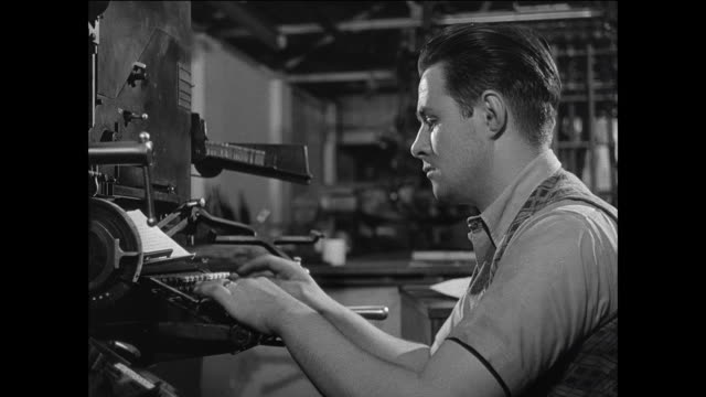 MONTAGE a crew prints a local newspaper / UK / Hands place article on keyboard / worker types at typeset machine / row of type slides into tray / printer places paper sheet over type / printer lowers cover and slides print bed into press / eagle lever