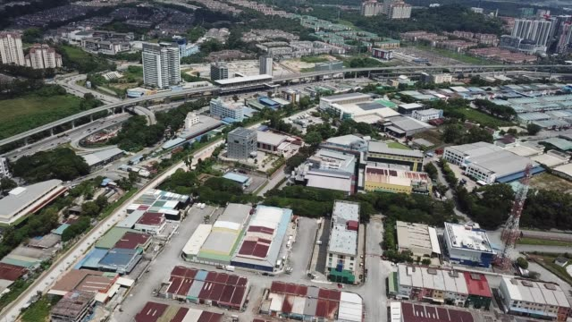 a drone point of view of light industry area in kepong, kuala lumpur , malaysia  directly above - viewpoint stock videos & royalty-free footage