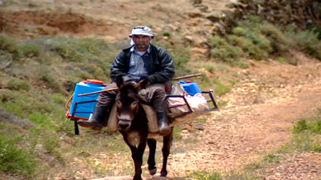 of a farmer traversing a rural mountainous trail, riding a mule that carries a load of pesticides. the black shirwal and keffiyeh indicate that he is... - 運ぶ点の映像素材/bロール