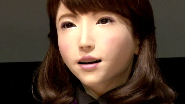 erica a female robot produced by research teams from osaka university and kyoto university was unveiled to the press on monday august 3 the robot... - robot human face stock videos & royalty-free footage