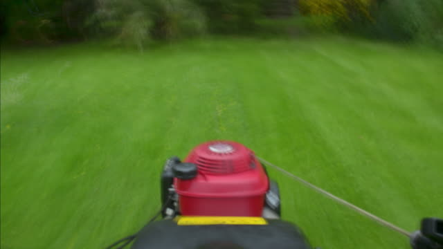 pov of a garden lawnmower cutting the grass - lawn mower stock videos and b-roll footage