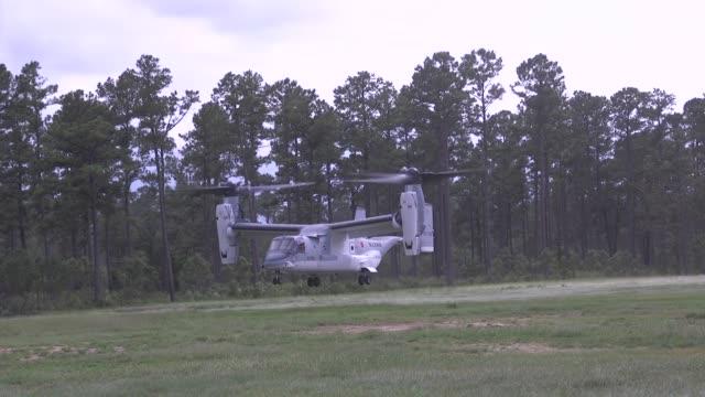 a Japanese V22 Osprey conducts aerial maneuvers at Marines Corps Air Station New River North Carolina July 9 2019