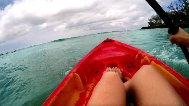 pov of a kayaker paddling directly into a wave - turtle bay hawaii stock videos and b-roll footage