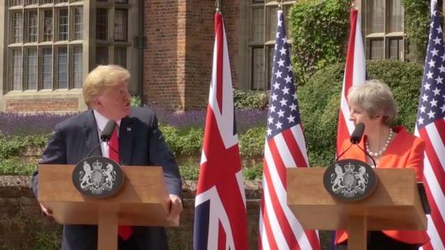 a a look at what happened during donald trump's previous fourday visit to the united kingdom as the us president prepares for another trip speakers... - jeremy corbyn stock videos and b-roll footage