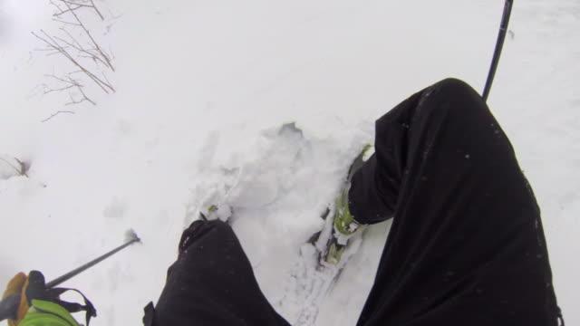 pov of a man downhill skiing. - ski jacket stock videos & royalty-free footage