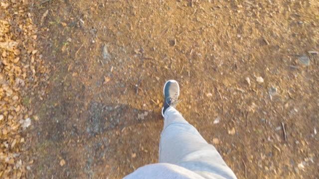 stockvideo's en b-roll-footage met pov van een man joggen buiten - hoog standpunt