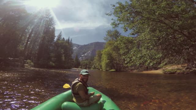 POV of a man rafting in Merced River of Yosemite