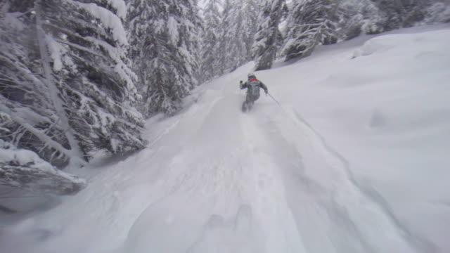vídeos y material grabado en eventos de stock de pov of a man skiing in the mountains in fresh powder snow. - vacaciones en la nieve