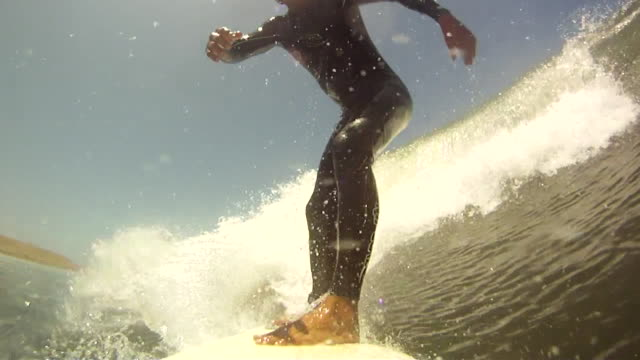 POV of a man surfing.