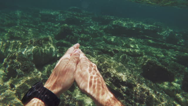 POV of a man swimming and snorkeling in a summer sea
