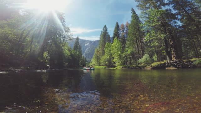 vidéos et rushes de pov d'un homme nageant dans la rivière merced de yosemite - rivière merced