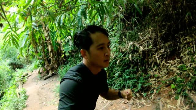 vidéos et rushes de pov d'un homme trail running dans la forêt tropicale - chemin de terre