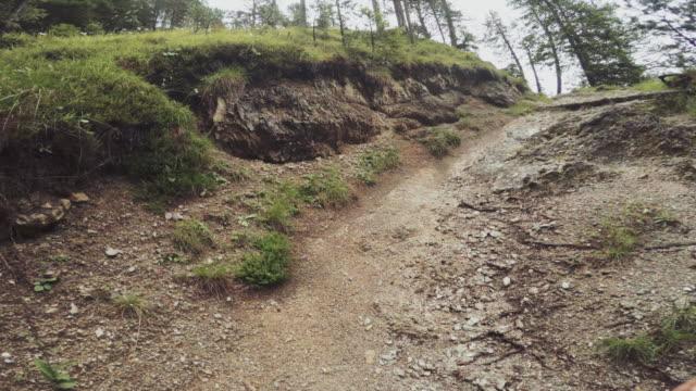 pov von einem mann trail-running-offroad in einem bergwald: zeitraffer - querfeldeinrennen stock-videos und b-roll-filmmaterial