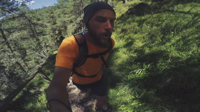 pov of a man trail running offroad in a mountain forest - dirt track stock videos and b-roll footage