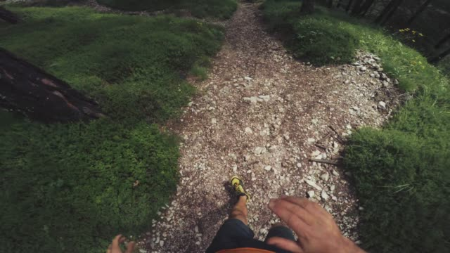 pov of a man trail running offroad in a mountain forest - dirt road stock videos and b-roll footage