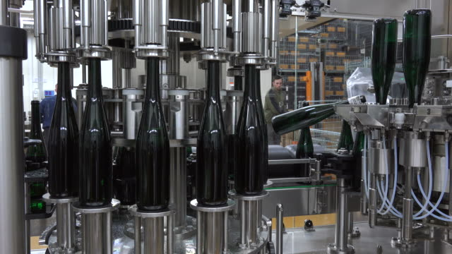 a modern wine bottling line at a vinery