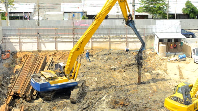 a new bulldozer is digging