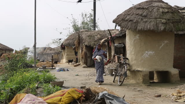 ws of a several elderly women in colourful saris who are standing in front of shacks with thatched roofs in a rural village near birgunj a border... - strohdach stock-videos und b-roll-filmmaterial
