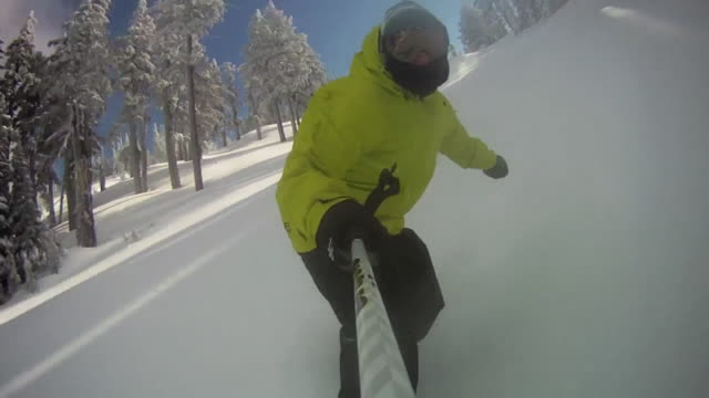 pov of a snowboarder carving a mountain in winter. - model released - hd - mammoth lakes video stock e b–roll