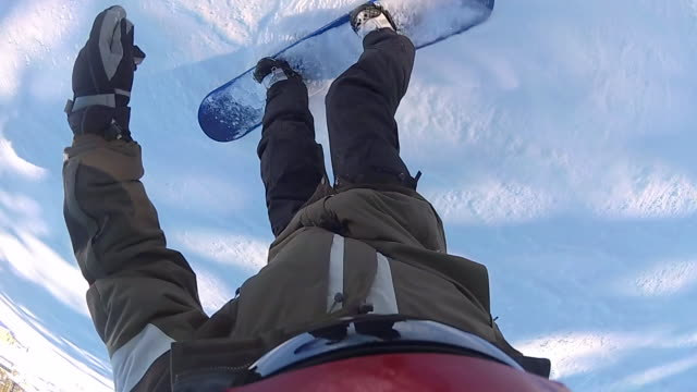 POV of a snowboarder snowboarding downhill at a ski resort. - Slow Motion