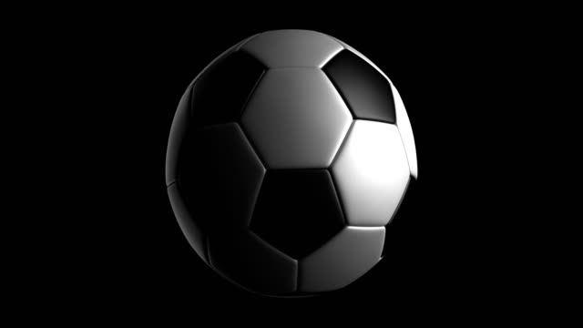 a soccerball rotating loop isolated with luma matte - matte stock videos and b-roll footage
