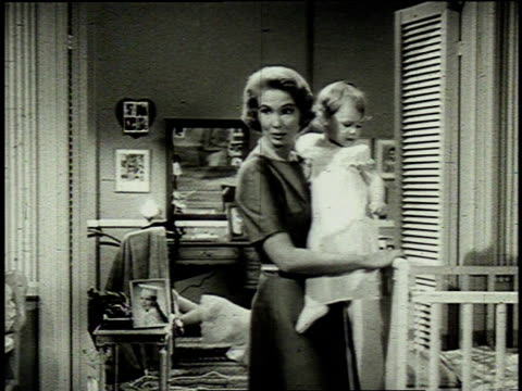 1962 montage a suburban family at home / united states - stereotypical housewife stock videos & royalty-free footage