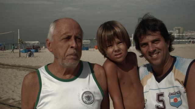 INTERVIEW a three generational family say what they think about the upcoming World Cup People enjoying themselves playing soccer on Copacabana Beach...