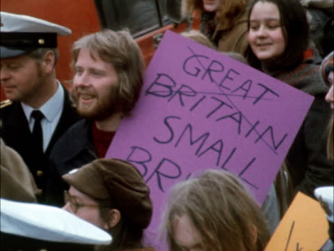a tms students river in b/g tms slogan held 'we will defend out 50 miles with blood iron' ms another slogan 'great britain small britain' cms slogan... - 1973 stock videos & royalty-free footage
