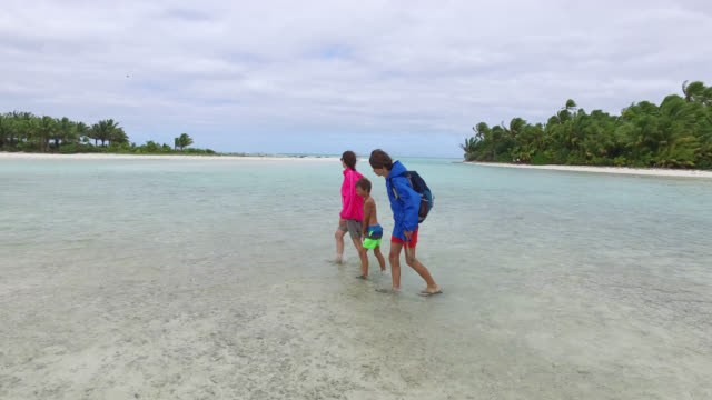 a woman and two children walk in the lagoon of Bird Island