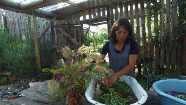 a Woman foraging and preparing natural food.