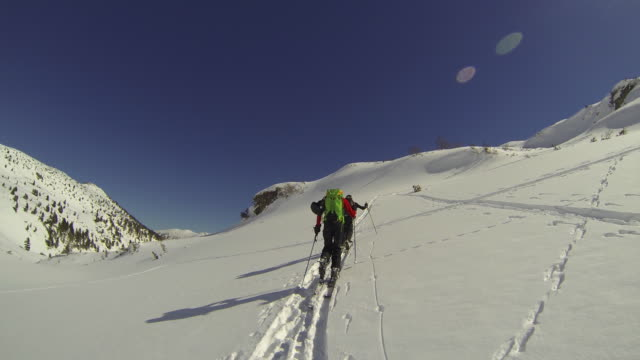 POV of a young man cross-country skiing with friends.