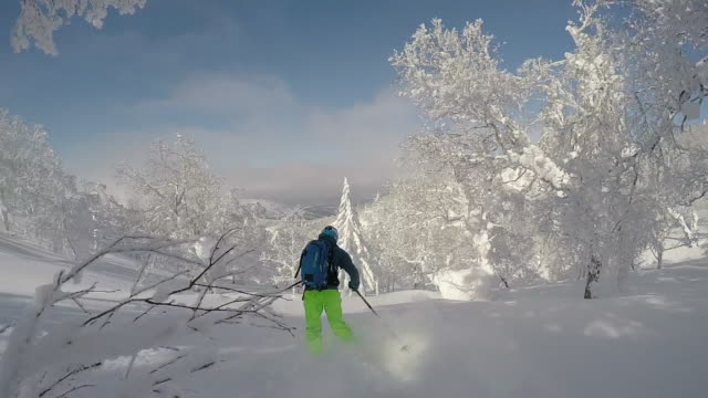 vidéos et rushes de pov of a young man skier skiing on a snow covered mountain. - slow motion - seulement des jeunes hommes