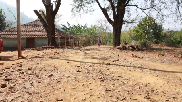 ws pan of a young woman in a pink sari who is walking down a bumpy farm track in a rural area about 300 kilometer from kolkata several children can... - bumpy stock videos & royalty-free footage