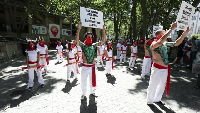 aanimal rights activists hold a placard reading 'no more deaths. end bullfighting' during a protest against bullfighting, after the san fermin... - animal blood stock videos & royalty-free footage