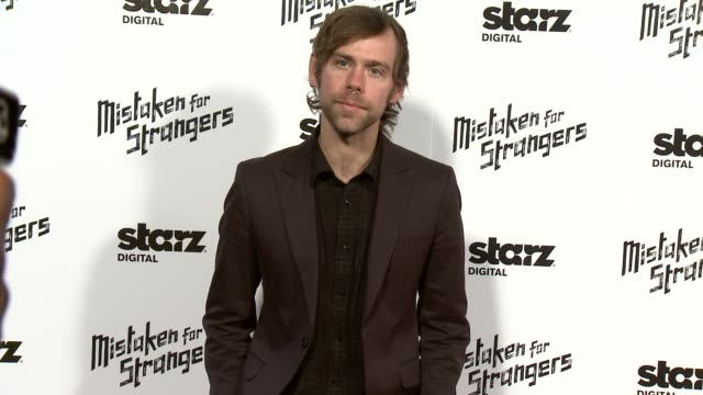 """aaron dessner at """"mistaken for strangers"""" los angeles screening at the shrine auditorium on march 25, 2014 in los angeles, california. - shrine auditorium stock videos & royalty-free footage"""