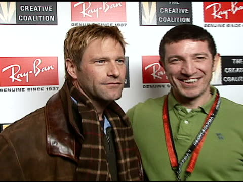 aaron eckhart and marcello favagrossa at the 2007 rayban visionary award in association with the creative coalition at harry o's in park city utah on... - aaron eckhart stock videos & royalty-free footage