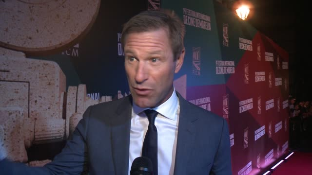 INTERVIEW Aaron Eckhart at 2016 Morelia International Film Festival on October 26 2016 in Morelia Mexico