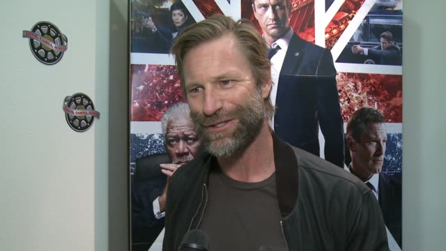 CHYRON Aaron Eckhart at 'London Has Fallen' Military Premiere At Vandenberg Air Force Base on February 27 2016 in Lompoc California