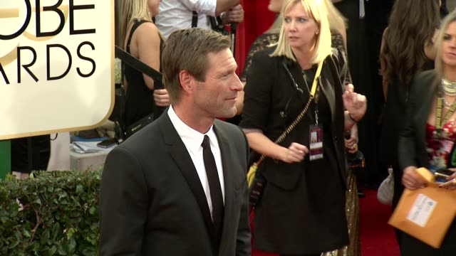 aaron eckhart at the 71st annual golden globe awards arrivals at the beverly hilton hotel on in beverly hills california - aaron eckhart stock videos & royalty-free footage