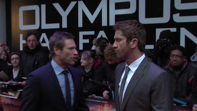 aaron eckhart gerard butler at 'olympus has fallen' uk premiere at bfi imax on april 03 2013 in london england - aaron eckhart stock videos & royalty-free footage