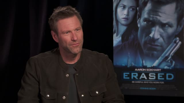 aaron eckhart on bringing a vulnerability to his character in the film at the 'erased' los angeles press junket. interview - aaron eckhart on... - vulnerability stock videos & royalty-free footage