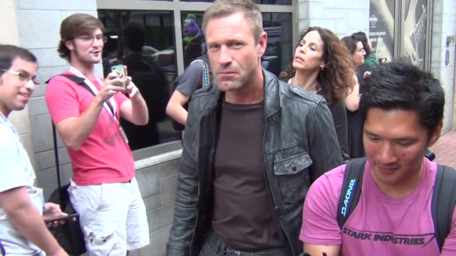 Aaron Eckhart on costumes and ComicCon at Celebrity Sightings ComicCon International 2013 Aaron Eckhart on costumes and ComicCon at on July 19 2013...