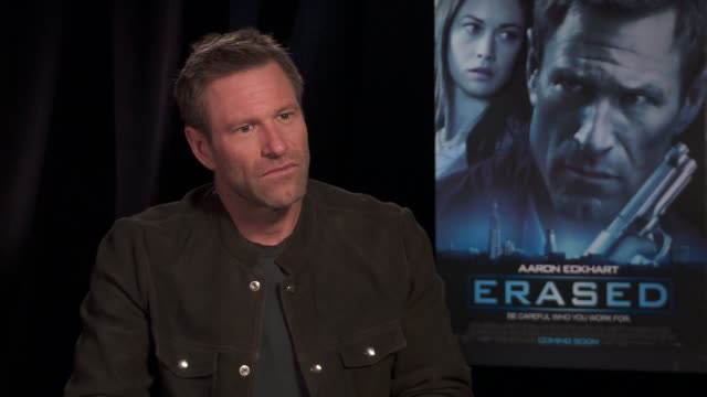 INTERVIEW Aaron Eckhart on his physical training for the film at the 'Erased' Los Angeles Press Junket INTERVIEW Aaron Eckhart on his physical...