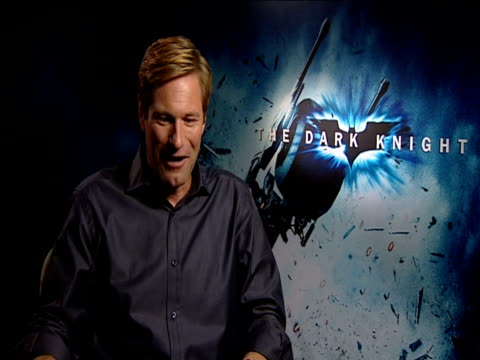 Aaron Eckhart on the amazing secret behind the transformation o his face during the film at the The Dark Knight European Junket at London