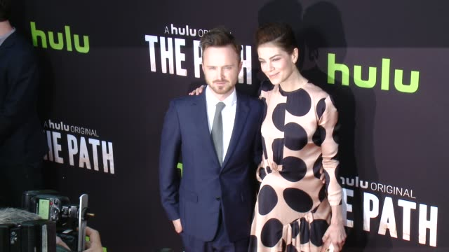 aaron paul and michelle monaghan at the path los angeles premiere at arclight cinemas on march 21 2016 in hollywood california - michelle monaghan stock videos & royalty-free footage