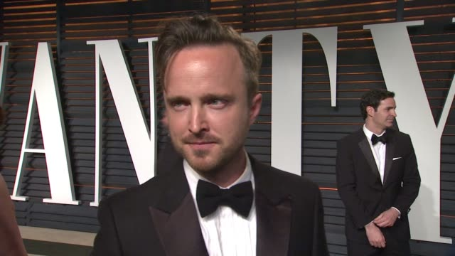 interview aaron paul at the 2015 vanity fair oscar party hosted by graydon carter at wallis annenberg center for the performing arts on february 22... - wallis annenberg center for the performing arts stock videos and b-roll footage
