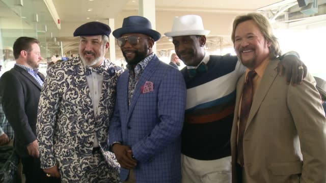aaron rodgers, sean mcvay, joey fatone, kevin richardson, wayna morris, and shawn stockman at the kentucky derby call sheet 145 at churchill downs on... - joey fatone stock videos & royalty-free footage