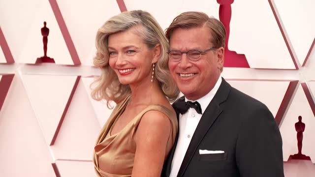 stockvideo's en b-roll-footage met aaron sorkin and paulina porizkova at the 93rd annual academy awards - arrivals on april 25, 2021. - academy awards