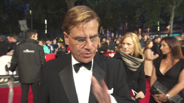 interview aaron sorkin on the closing night of the bfi film festival not writing just a biopic working with british actors the reactions of the... - odeon leicester square stock videos and b-roll footage